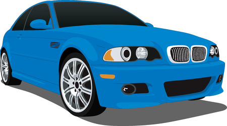 car tire: Blue German Sports Car Illustration