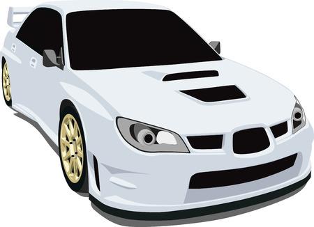 White Japanese Rally Car Vector