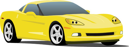 horsepower: Yellow American Sports Car