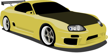exotic car: Yellow Japanese Exotic Car