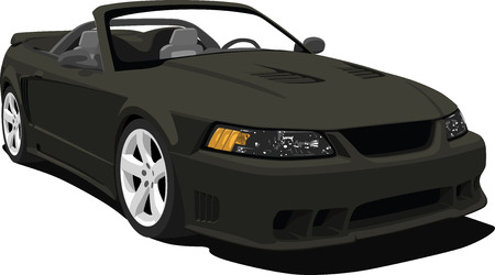 new motor car: Black American Sports Convertible