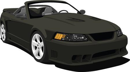 cabrio: Zwarte Amerikaanse Sports converteerbare