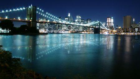 New York City night scape view of Lower Manhattan Reklamní fotografie