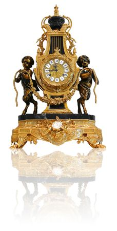 luxuries: Antique Gold Clock with bronze statues