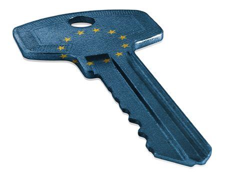 Key with European Union Flag