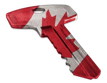 캐나다 국기가있는 열쇠 스톡 콘텐츠