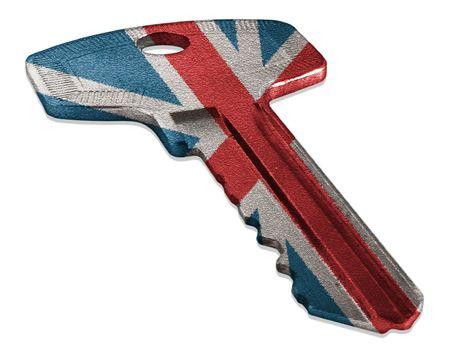 Key with British flag isolated on white 스톡 콘텐츠