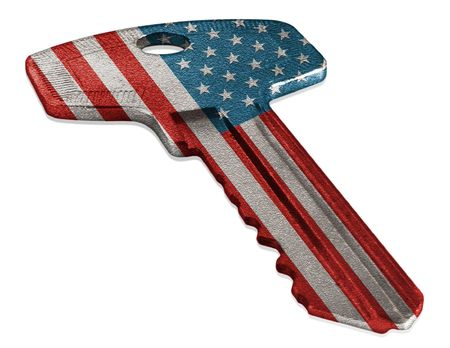 Key with American flag isolated on white
