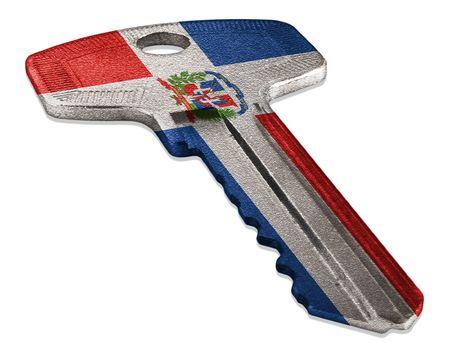 Key with Dominican Republic Flag Reklamní fotografie