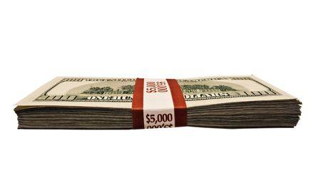 money packs: Stack of 100 dollar bills isolated on white Stock Photo