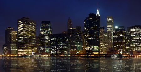 New York City Financial District at Night