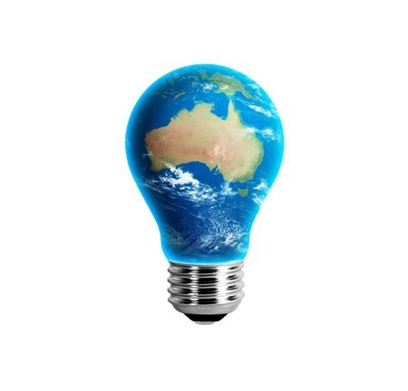 australie landschap: Aarde in een Light Bulb - Australië Stockfoto