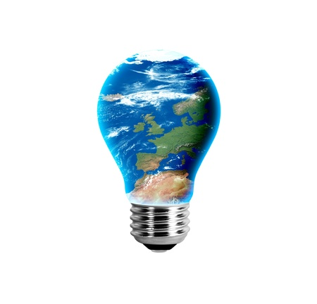 Europe in a light bulb photo
