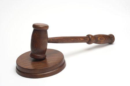 judges gavel,close up over white