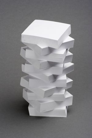 A pile of memo notes over gray background  Stock Photo - 2520216