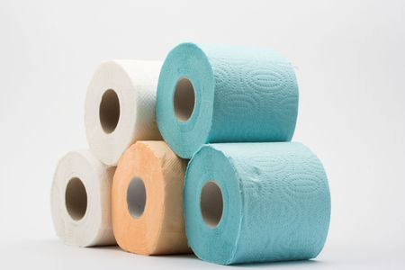 Stack of some rolls of color toilet paper