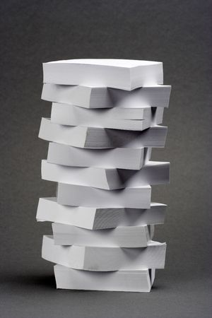 A pile of memo notes over gray background  Stock Photo - 2537152
