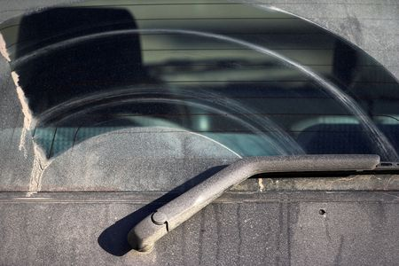 The dirty back window of an  automobile Stock Photo - 2537161