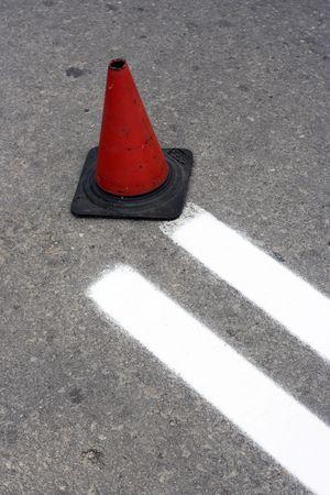 macadam: The road in construction-cone