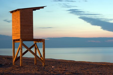 Life-guard's cabin during sunset in Paralia  Katerinis,Greece Stock Photo - 2834088