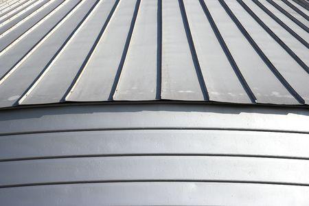 Grain reservoir detail  against a blue sky photo