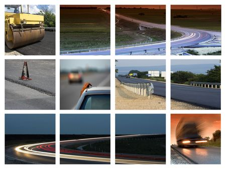 macadam: This is a  transportation themed collage Stock Photo