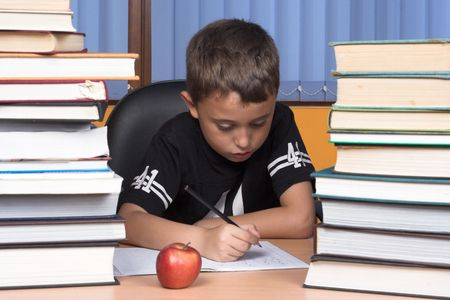 A young schoolboy write his homework Stock Photo - 3232030