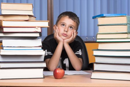 A young schoolboy write his homework Stock Photo - 3246769