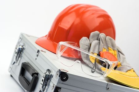 Safety gear and measuring tape Imagens