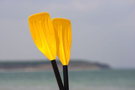 paddles: Paddles on the sunny beach Stock Photo