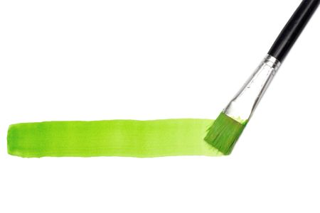 Green line and brush over white