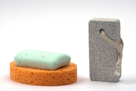 sponge,soap and pumice close up Stock Photo - 3559281