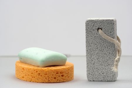 stone wash: sponge,soap and pumice close up