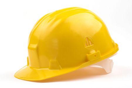 health industry: yellow helmet over white background Stock Photo