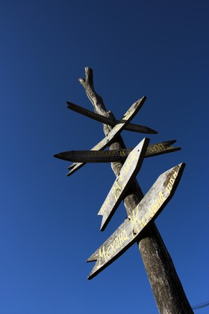 mileage: the old wooden signpost against the blue sky Stock Photo