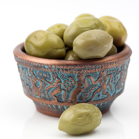 Some green olives close up photo