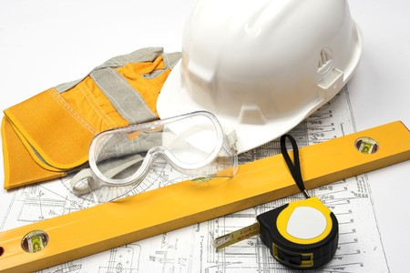 Safety gear and measuring tape Stock Photo - 4193355
