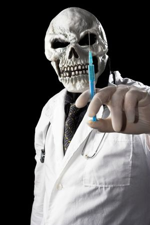The image of  Death holding syringe