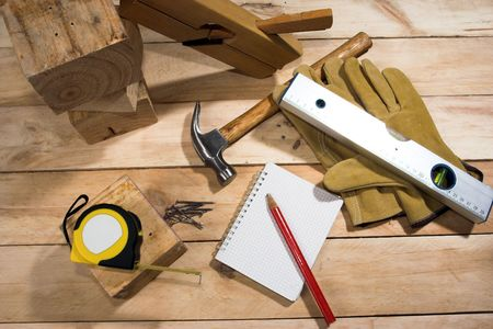 set of carpenters tool on the wood  photo
