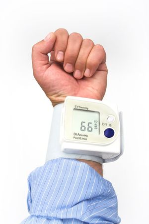 systolic: sphygmomanometer on the mans hand