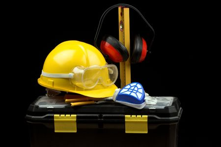 personal protective equipment: Safety gear kit close up