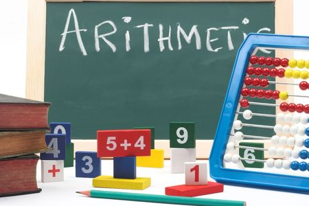 numbers,abacus and books- mathematical background  photo