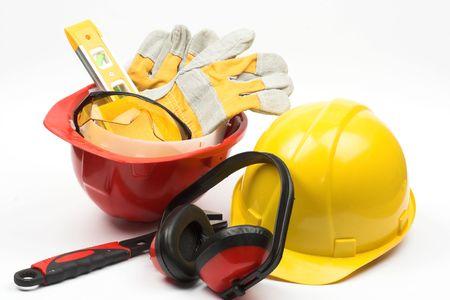 protective helmets: Kit di attrezzi per la sicurezza in primo piano