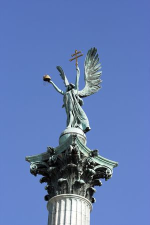 chieftain: Symbolic figure of archangel Gabriel-Heroes square Budapest