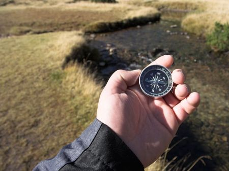 compass in the hand,stream in the background  photo