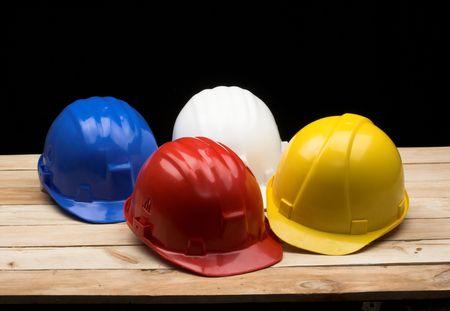 protective helmets: blu, bianco, rosso e giallo caschi protettivi