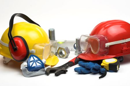 Safety gear kit and tools close up  Imagens