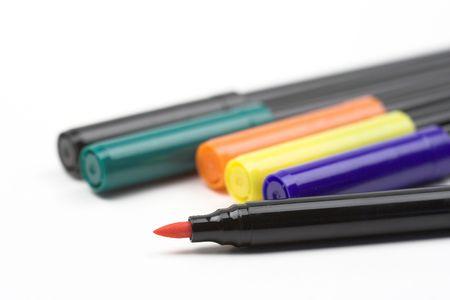 color fibre pens close up photo