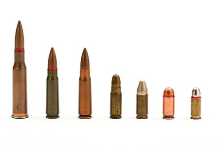 munition: bullets close up over white