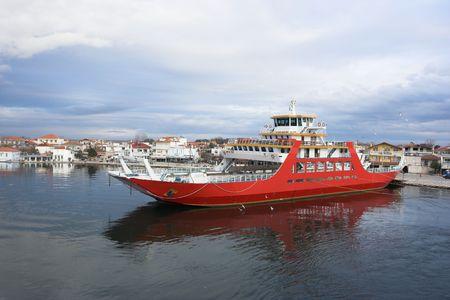 ferryboat: Ferryboat in harbor of Keramoti,Greece